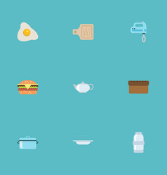 Flat icons spice fast food blender and other vector