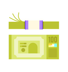 Flat style of a bundle of money vector