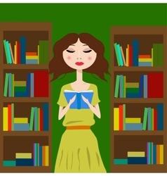 Girl in the library or bookstore reading a book vector