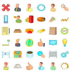 Great corporation icons set cartoon style vector