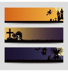 Halloween banners templates set vector