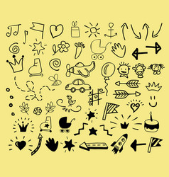 Hand drawn icons for children vector