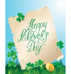 Happy St Patricks Day Old scroll Shamrock vector image vector image