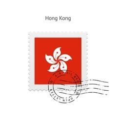 Hong kong flag postage stamp vector