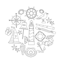 Marine outline icons set vector