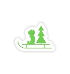Paper sticker on white background bear sled tree vector