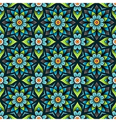 pattern rosette blue vector image vector image