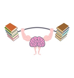 Pumping up brains strong brain with big muscles vector