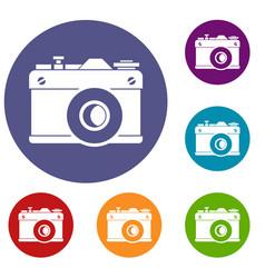 retro camera icons set vector image