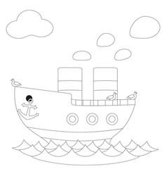 retro steam ship black and white poster vector image