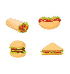 Sandwich burger hot dog shawarma roll set vector