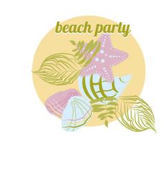 Sea elements starfish palm seashell vector