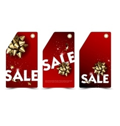 Set of sale and discount paper labels with golden vector