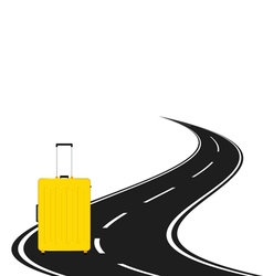 travel bag with road vector image
