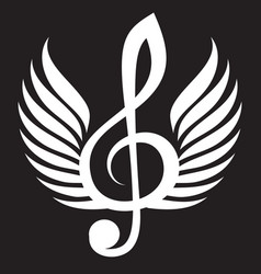 White treble clef with wings vector