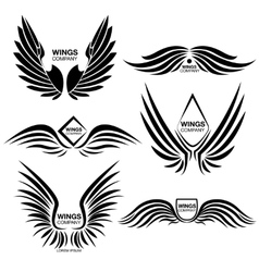 Wings monochrome logo elements set vector