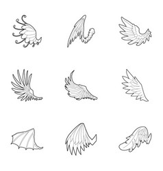 Wings of dragon and griffin icons set vector