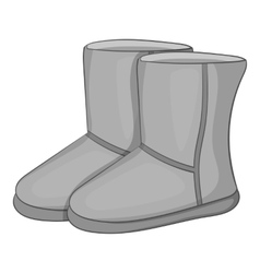 Winter ugg boots icon gray monochrome style vector