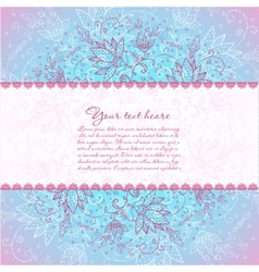 blue background with rose flower horizontal text vector image