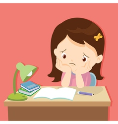 Little cute girl bored homework vector
