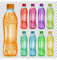 Set of transparent plastic bottles with juice vector