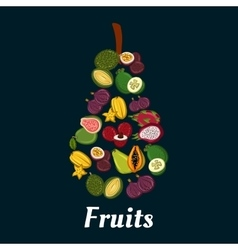 Pear fruit symbol with exotic tropical fruits vector