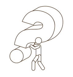 sketch contour person carrying question mark vector image