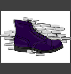 Blue lace-up shoes against a light gray brick wall vector