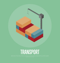 Transport banner with freight crane vector