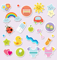 Baby stickers kids children design elements for vector
