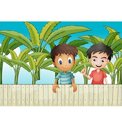 Two friends near the wooden fence vector