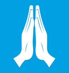 Prayer icon white vector