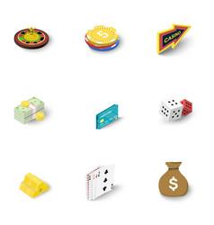 Online casino icons set isometric style vector