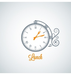 Lunch clock concept background vector