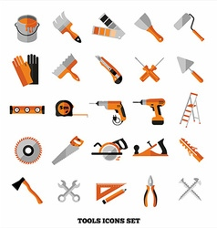 Buildings tools icons set flat design symbols vector