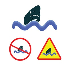 Shark icon in the sea vector