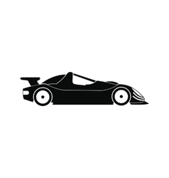 Speeding race car black simple icon vector