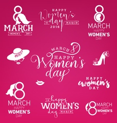 Happy womens day design elements for greeting card vector