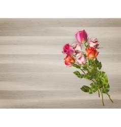 Red roses on a wooden background eps 10 vector