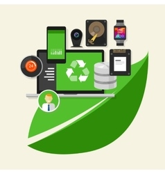 Green recycle computer technology computing vector