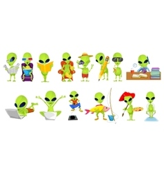 Set of green aliens hobby vector