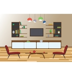 Home interior flat design living and vector