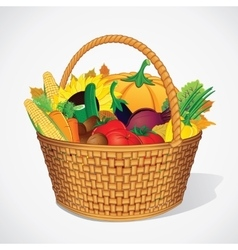Autumn vegetable and fruits harvesting vector