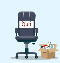 Business chair with quit message vector