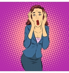 Businesswoman screaming pain horror emotions vector image