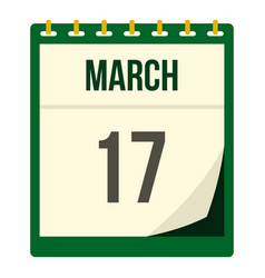Calendar with st patrick day date icon isolated vector