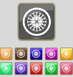 Casino roulette wheel icon sign set with eleven vector