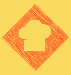Chef cap sign red scribble icon obtained vector