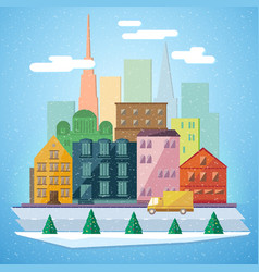 Christmas winter city background vector