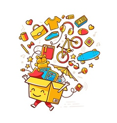 Colorful of yellow smile character shopping vector